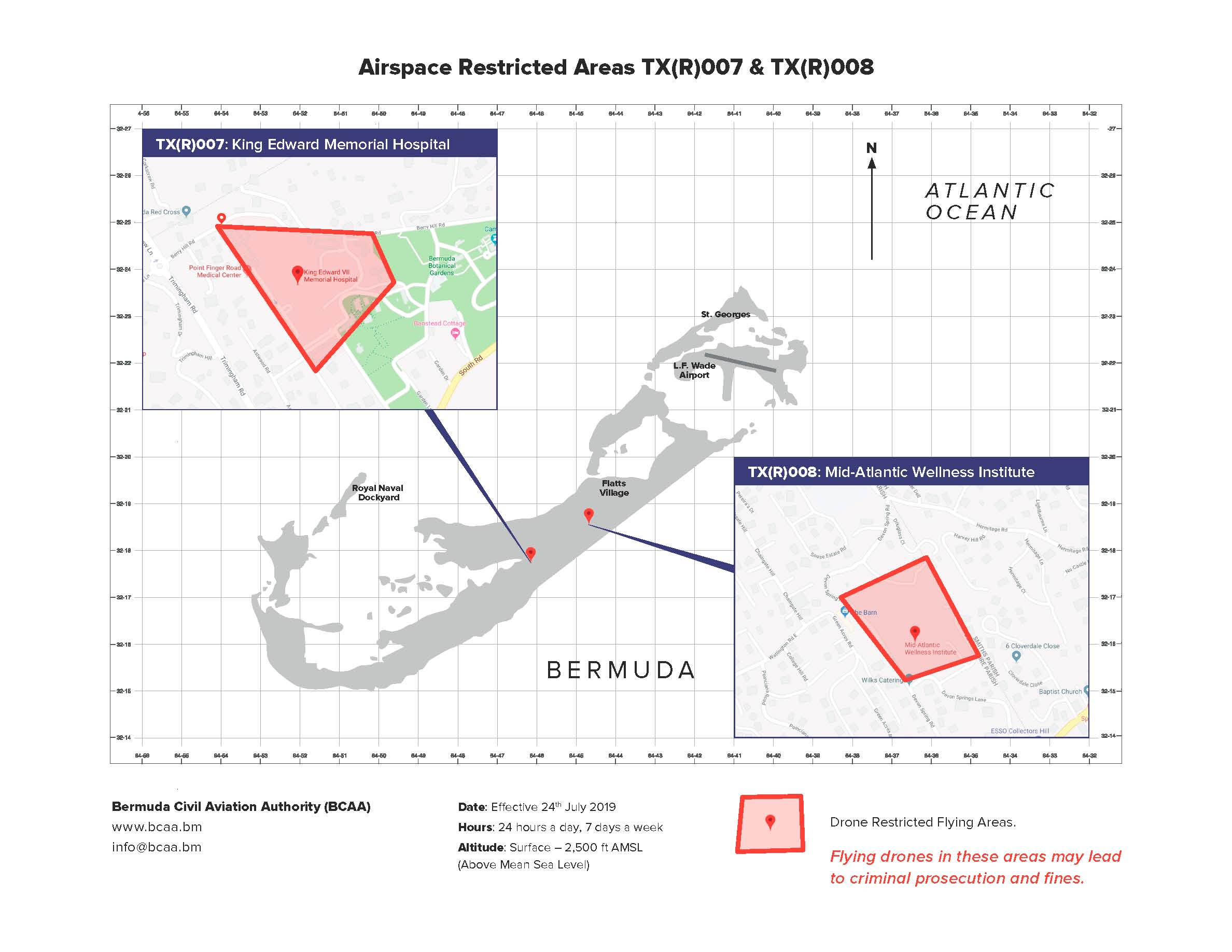 BCAA Drone No-Fly Zone Map Bermuda, July 2019
