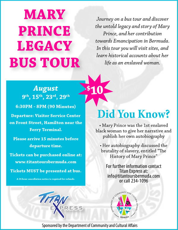 Mary Prince Legacy Tour Bermuda August 2019