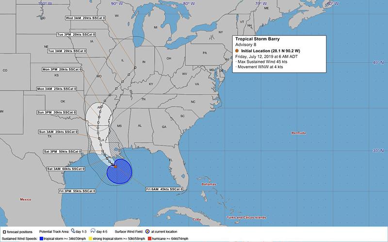 Tropical Storm Barry Bermuda July 12 2019 BWS