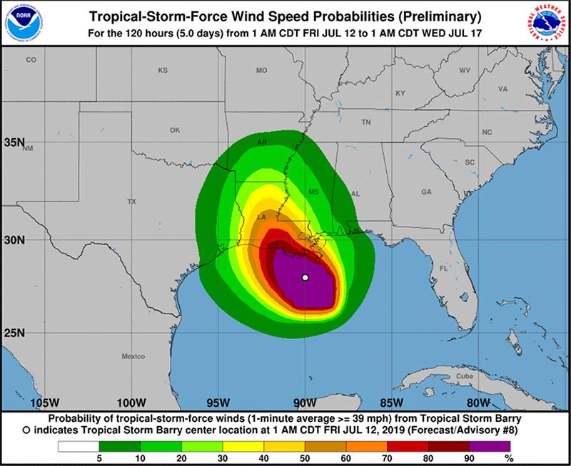 Tropical Storm Barry Bermuda July 12 2019 NHC