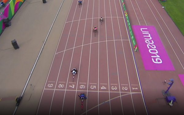 Jessica Lewis wins 100m gold 2019 Parapan (2)