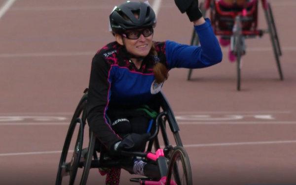 Jessica Lewis wins 100m gold 2019 Parapan (4)