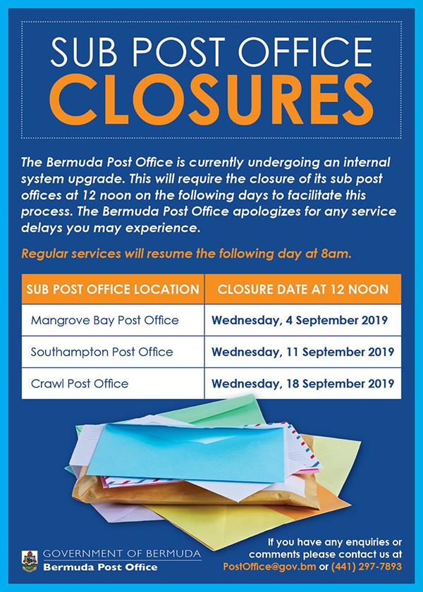 Post Office Closures Bermuda Aug 2019