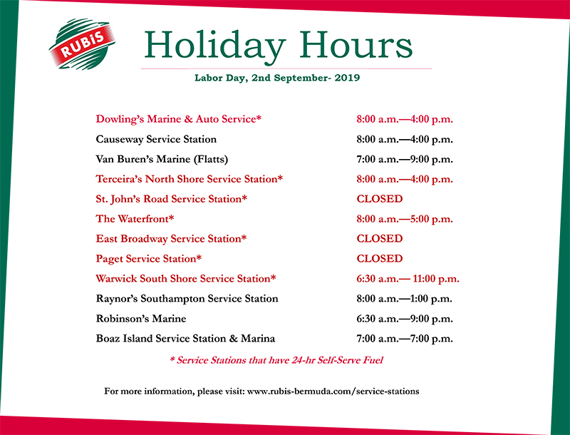 RUBiS Service Stations Labor Day Holiday Hours Bermuda Aug 2019