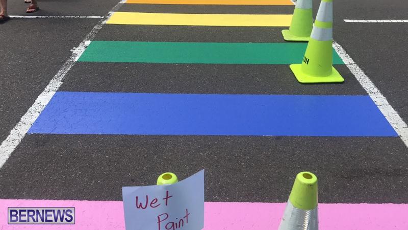 Rainbow coloured cross walks in Hamilton Bermuda August 2019 (10)