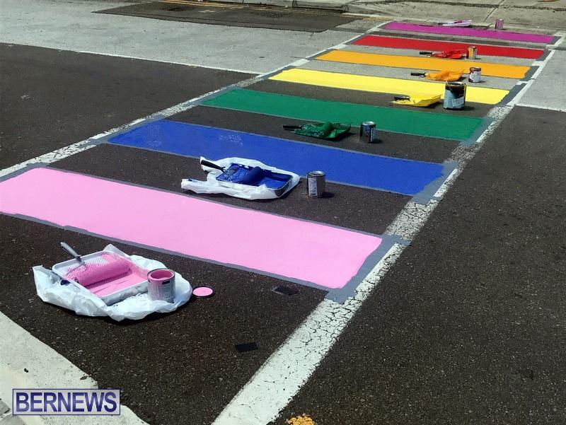Rainbow coloured cross walks in Hamilton Bermuda August 2019 (3)