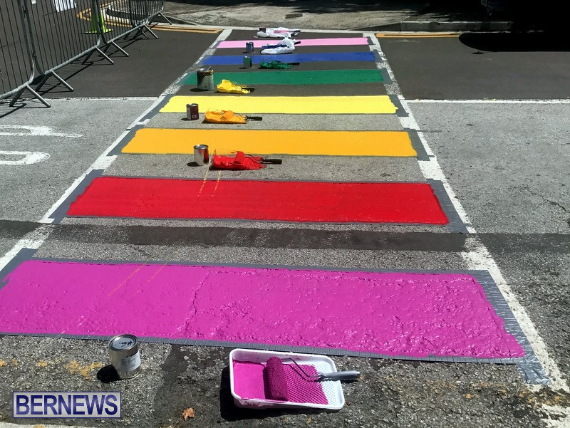 Rainbow coloured cross walks in Hamilton Bermuda August 2019 (5)