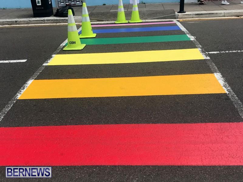Rainbow coloured cross walks in Hamilton Bermuda August 2019 (7)