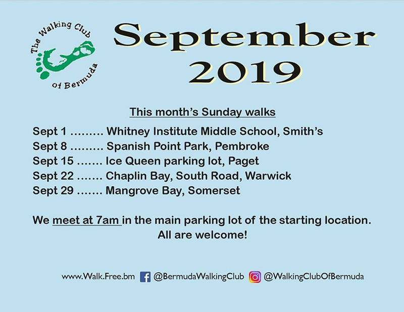 Walking Club Of Bermuda Schedule Aug 2019