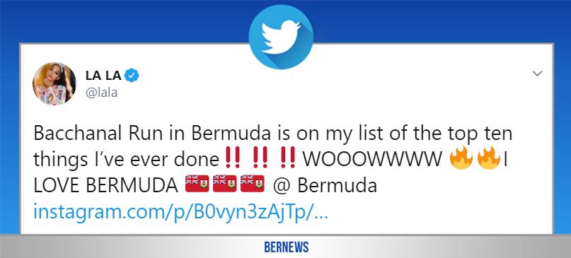lala tweet Bermuda August 5 2019
