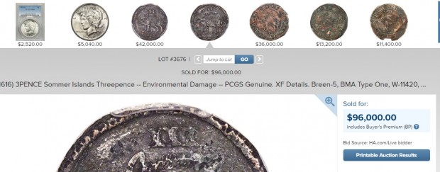 (1616) 3PENCE Sommer Islands Threepence -- Environmental Damage --  Lot #3676  Heritage Auctions - Google Chrome 05092019 112356 PM