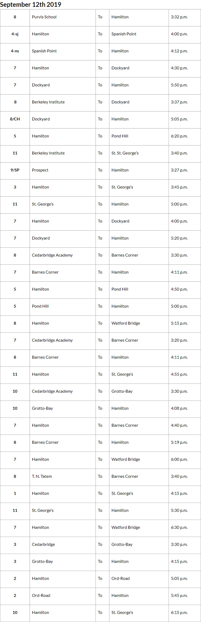 Bus cancellations PM Bermuda September 12 2019