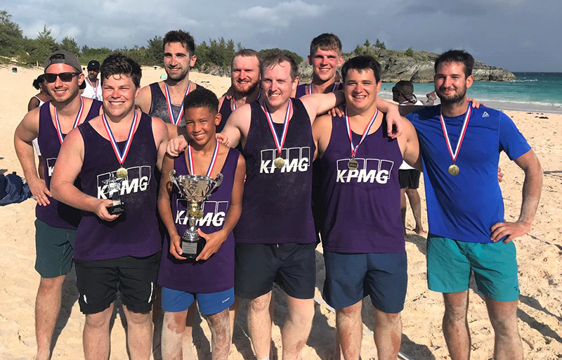 Corporate Beach Soccer Tournament Bermuda September 2019 KPMG Winners
