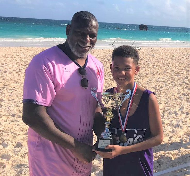 Corporate Beach Soccer Tournament Bermuda September 2019 KPMG accepting CUP BBBS Lil Brother