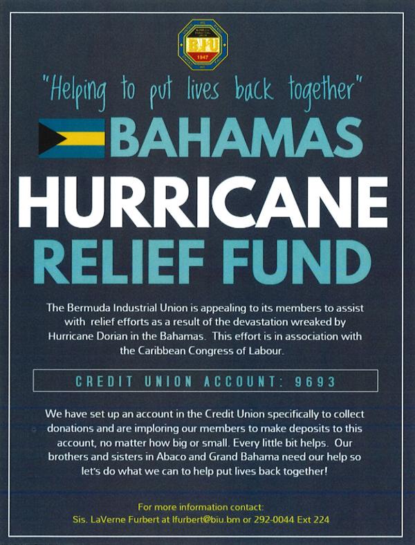 Hurricaine Relief Fund Bermuda Sept 2019