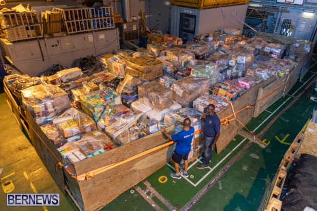 Hurricane Dorian Donations Royal Navy HMS Protector Bermuda, September 8 2019-8127