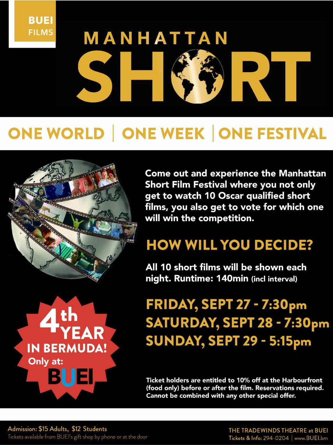 Manhattan Short Film Festival Bermuda Sept 2019