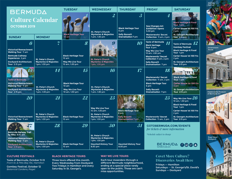BTA Calendar Bermuda October 2019