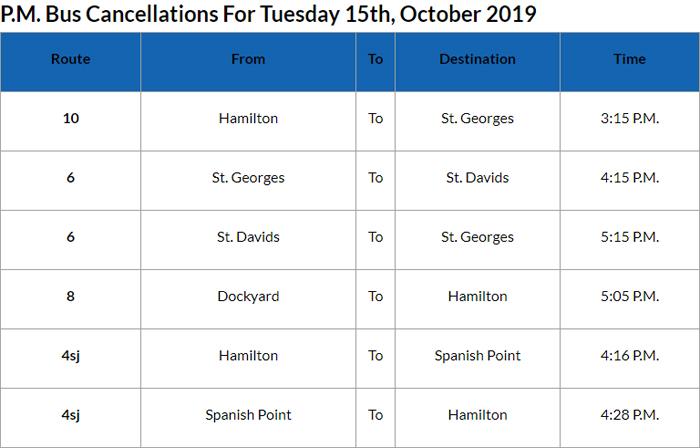 Bus cancellations PM Bermuda Oct 15 2019