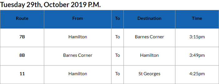Bus cancellations PM Bermuda Oct 29 2019
