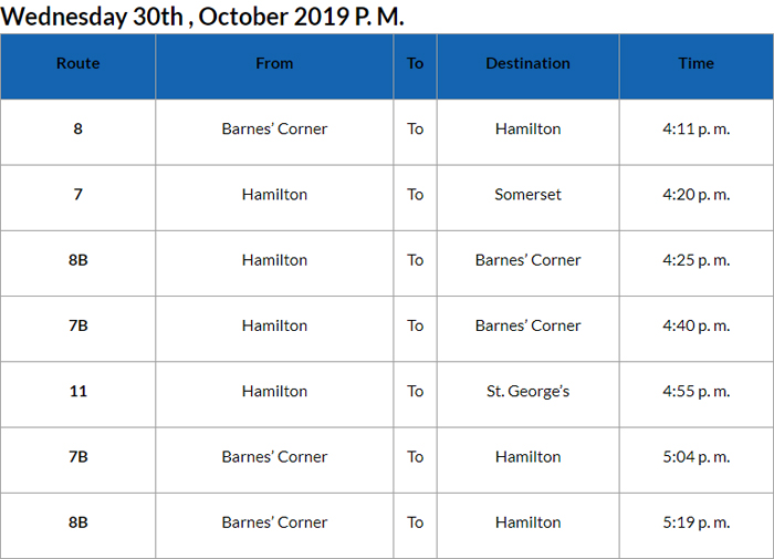 Bus cancellations PM Bermuda Oct 30 2019