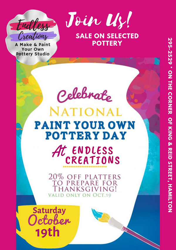 Endless Creations National Paint Your Own Pottery Day Bermuda Oct 2019