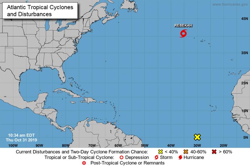 NHC Subtropical Storm Rebekah Bermuda Oct 31 2019