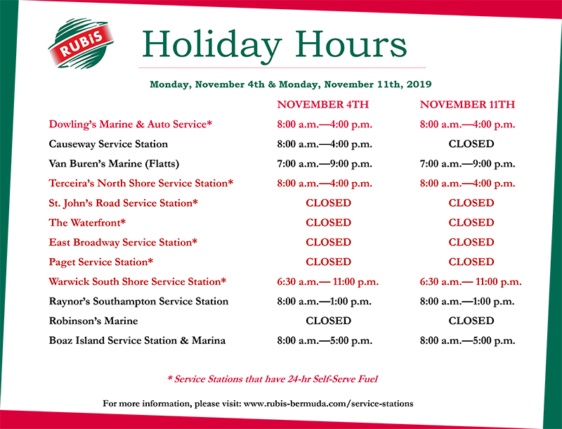 RUBiS Service Stations November Holiday Hours Bermuda Oct 2019