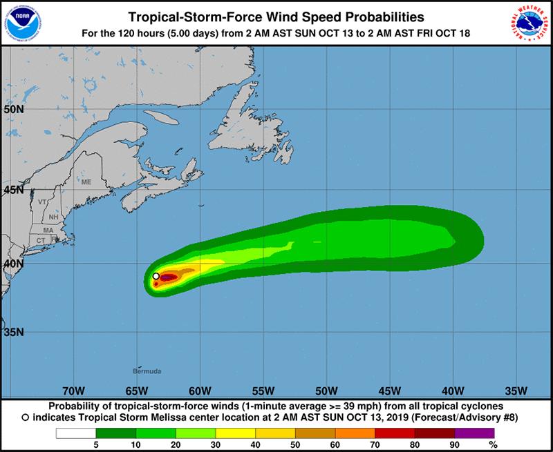 Tropical Storm Melissa Bermuda October 13 2019 NHC