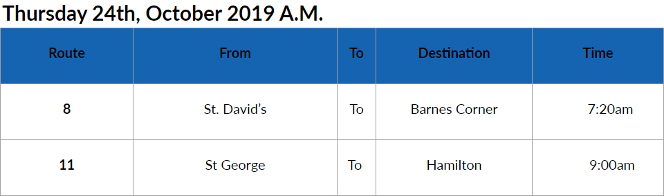 bus cancellation AM Bermuda Oct 24 2019