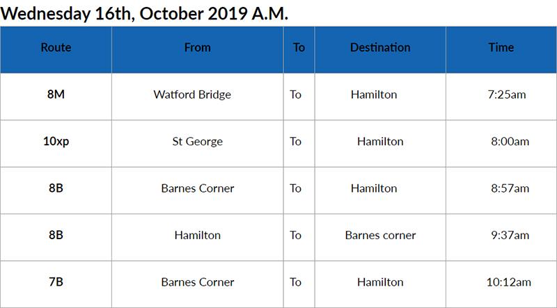 bus cancellations AM Bermuda Oct 16 2019