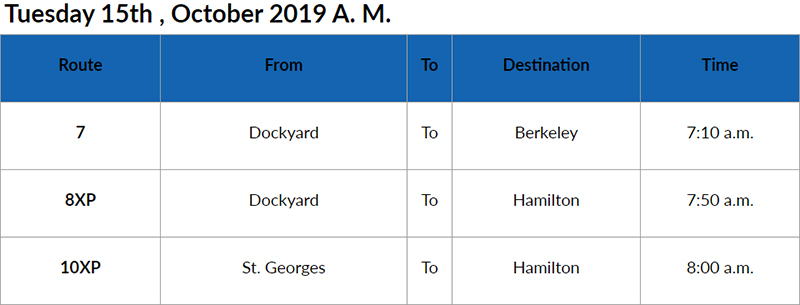 bus cancellations AM Oct 15 2019