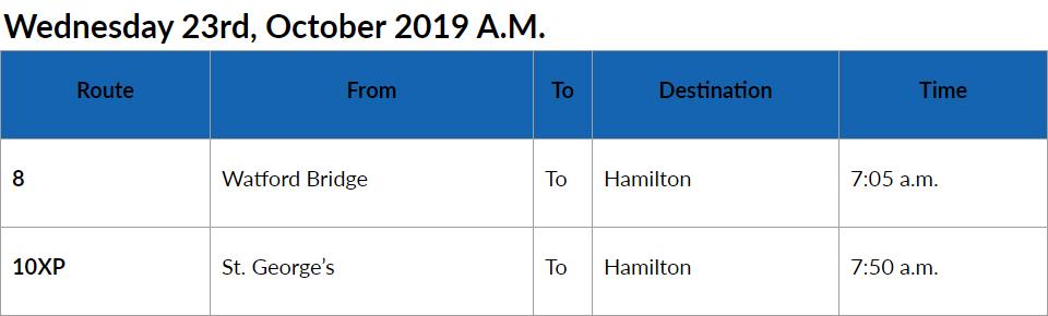 bus cancellations am Bermuda Oct 23 2019