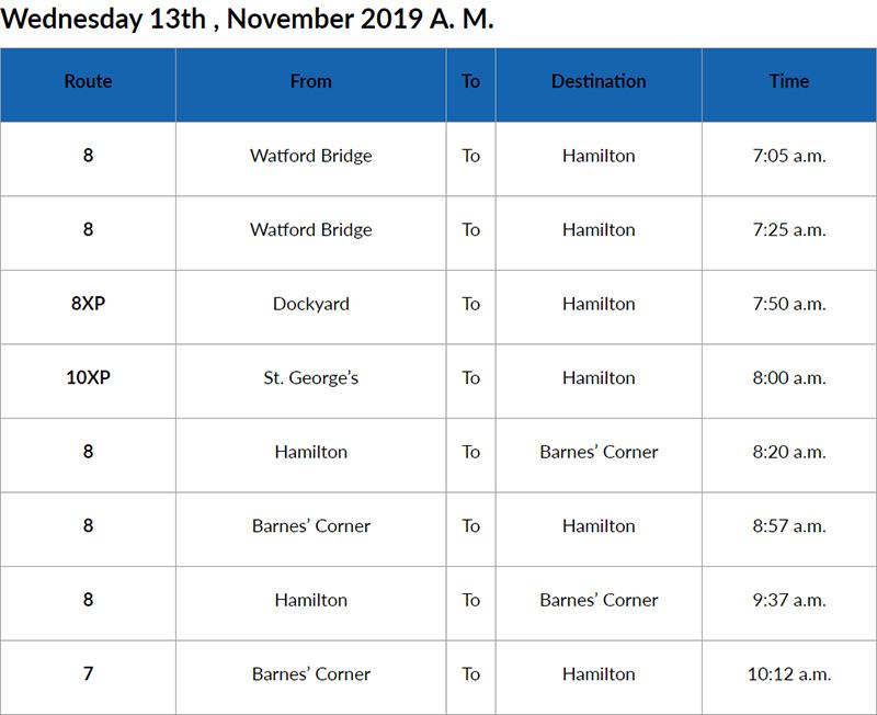 Bus Cancellation Bermuda Nov 13 2019 AM