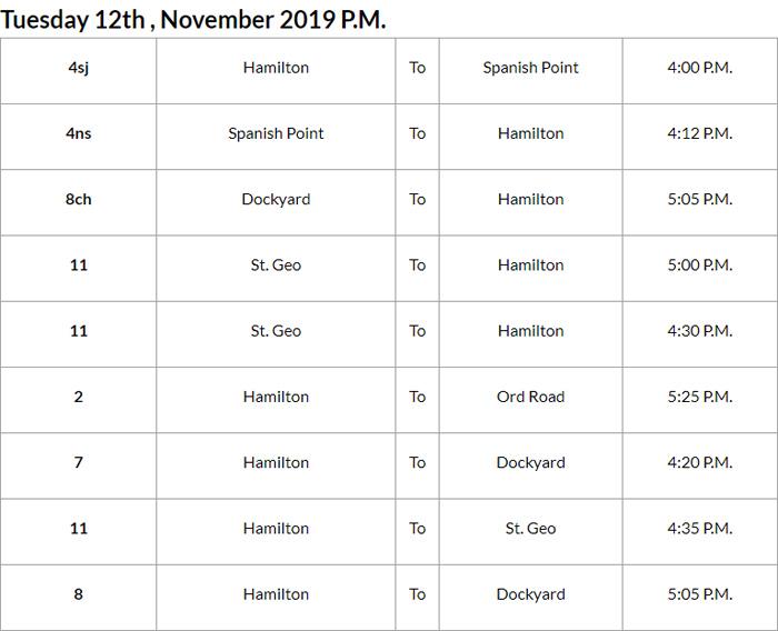 Bus Cancellation PM Bermuda Nov 12 2019