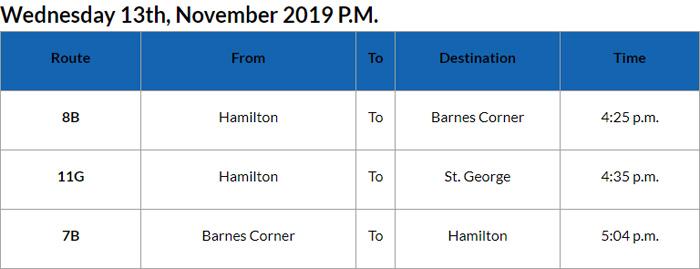 Bus Cancellation PM Bermuda Nov 13 2019