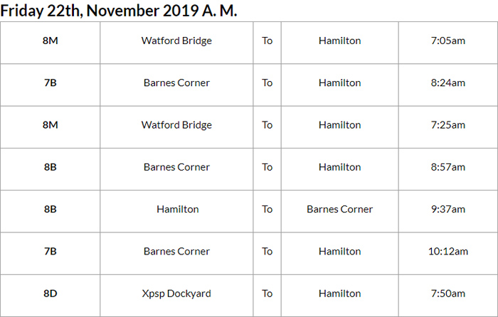 Bus Cancellations AM Bermuda Nov 22 2019