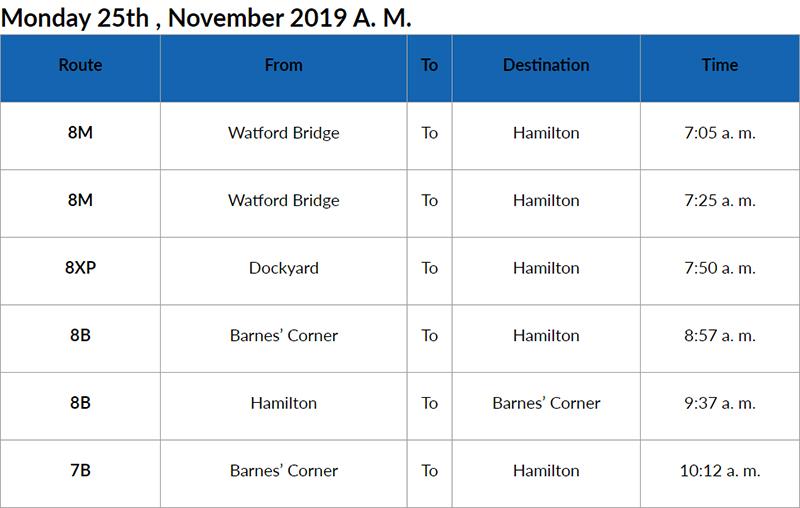 Bus Cancellations AM Bermuda Nov 25 2019
