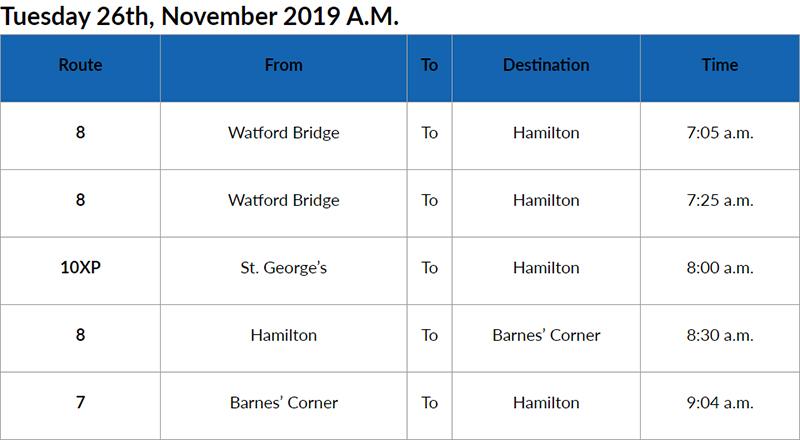 Bus Cancellations AM Bermuda Nov 26 2019
