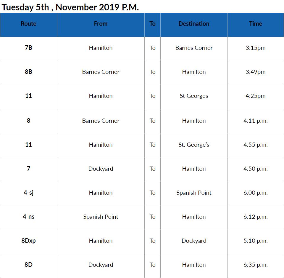 Bus Cancellations Bermuda Nov 5 2019
