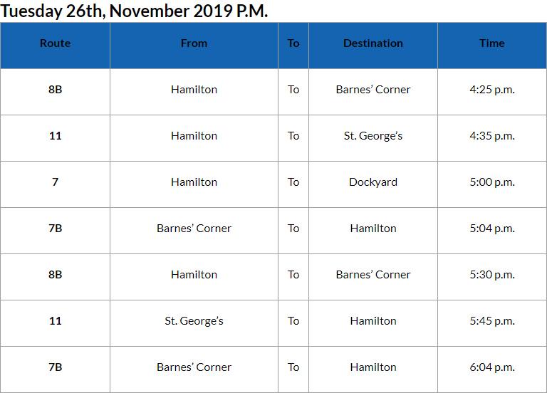 Bus Cancellations PM Bermuda Nov 26 2019