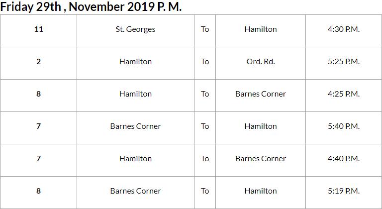 Bus Cancellations PM Bermuda Nov 29 2019