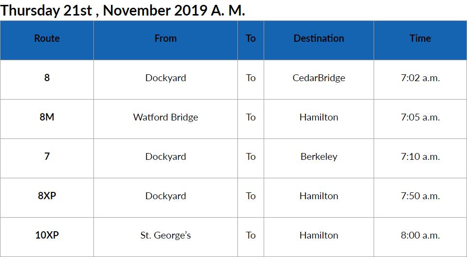 Bus cancellations AM Bermuda Nov 21 2019
