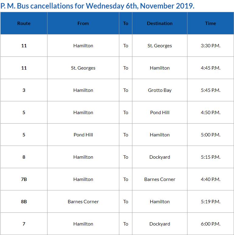 Bus cancellations PM Bermuda Nov 6 2019