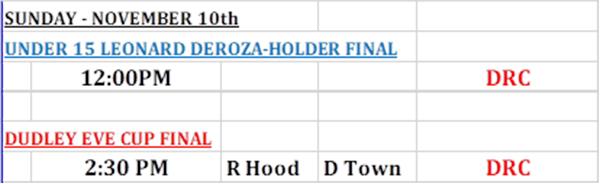 Dudley Even &  Leonard Deroza-Holder Schedule Bermuda Nov 2019