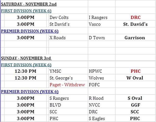 Football Weekend Schedule Bermuda Nov 2019