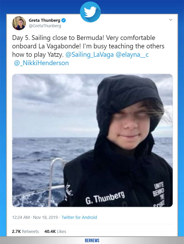 Greta Thunberg tweet Bermuda Nov 18 2019