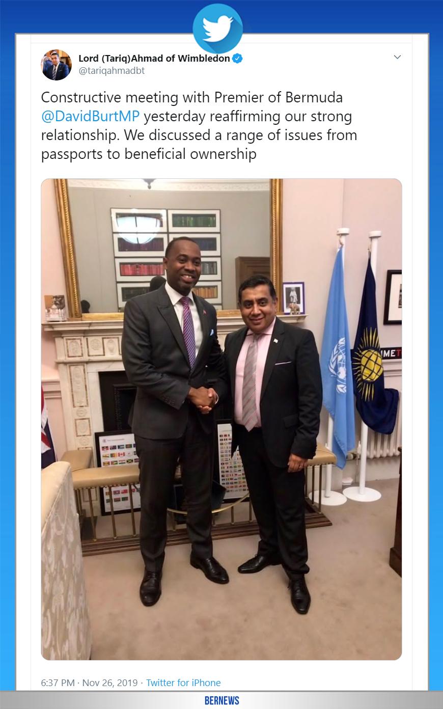Lord (Tariq)Ahmad of Wimbledon tweet Bermuda Nov 26 2019