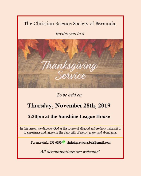 Thanksgiving Day Service Bermuda Nov 2019