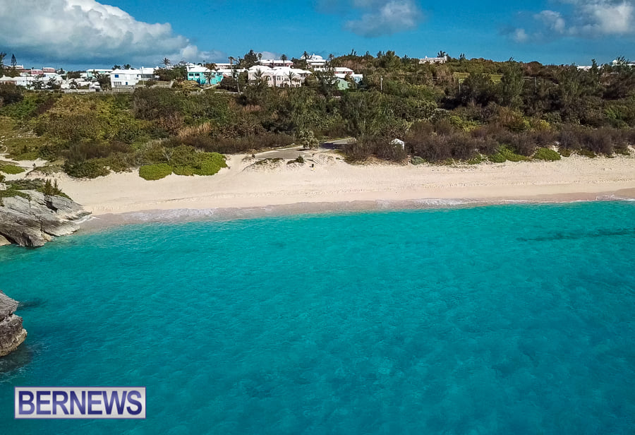 449 - An aerial view of the stunning Warwick Long Bay, one of the pinkest beaches in Bermuda